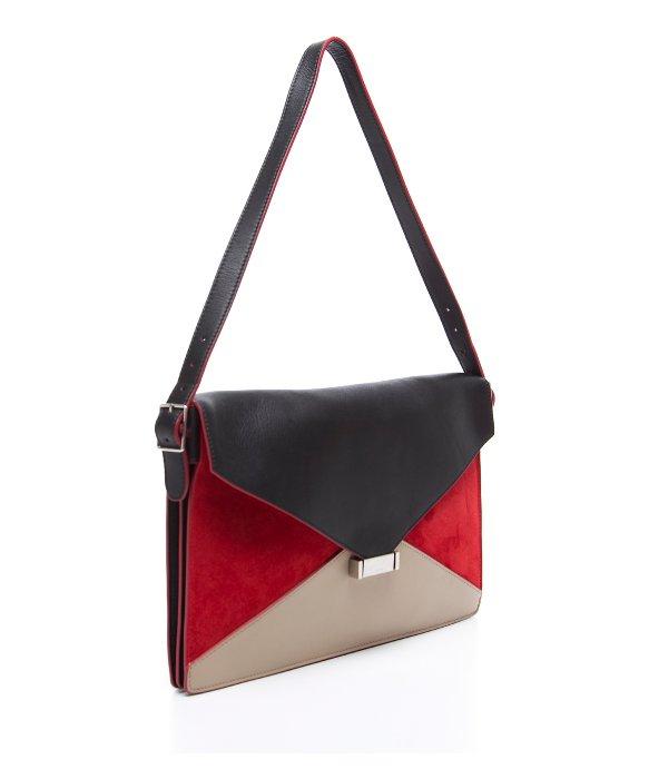 celine red suede leather diamond clutch bag