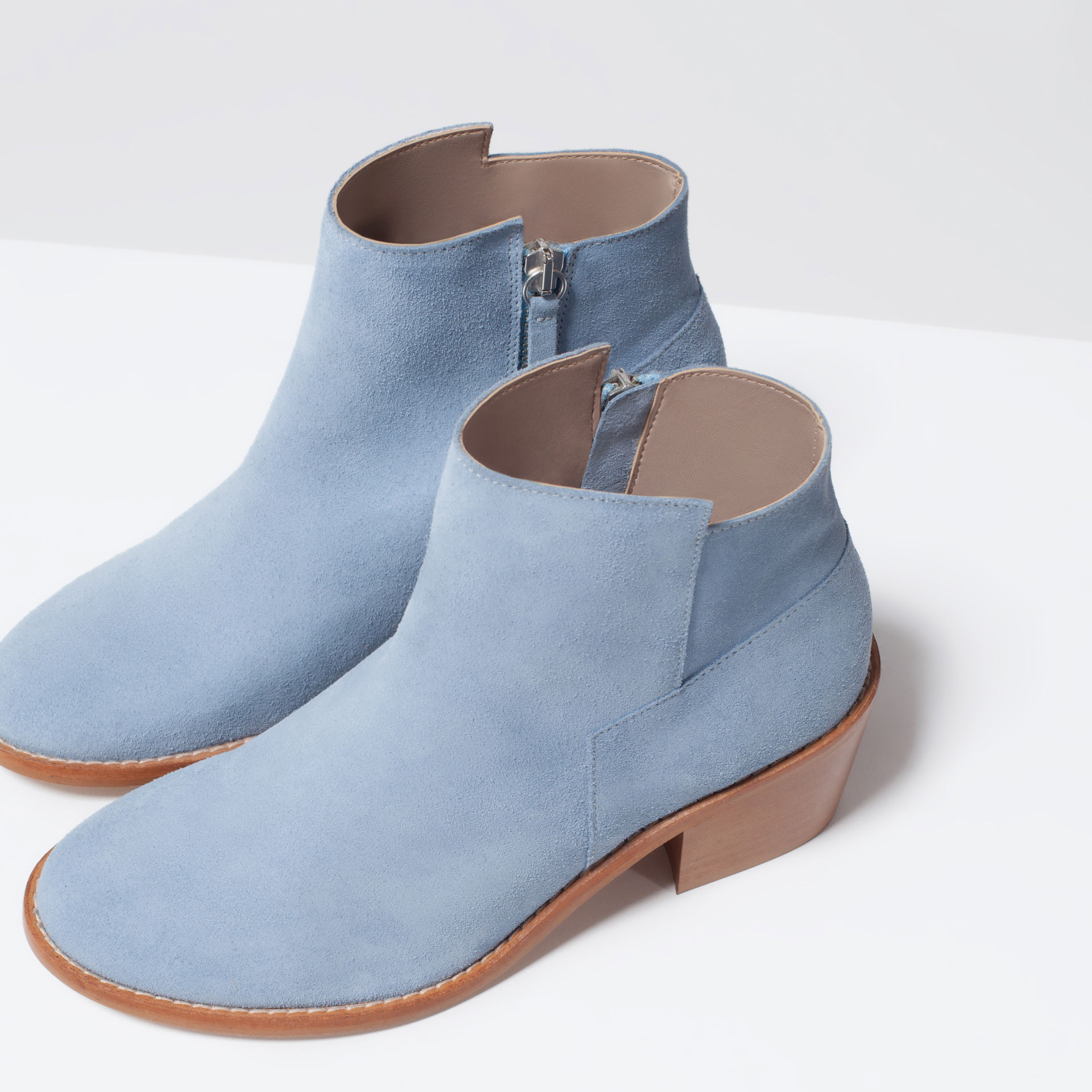 zara suede cowboy boots suede cowboy boots in blue lyst