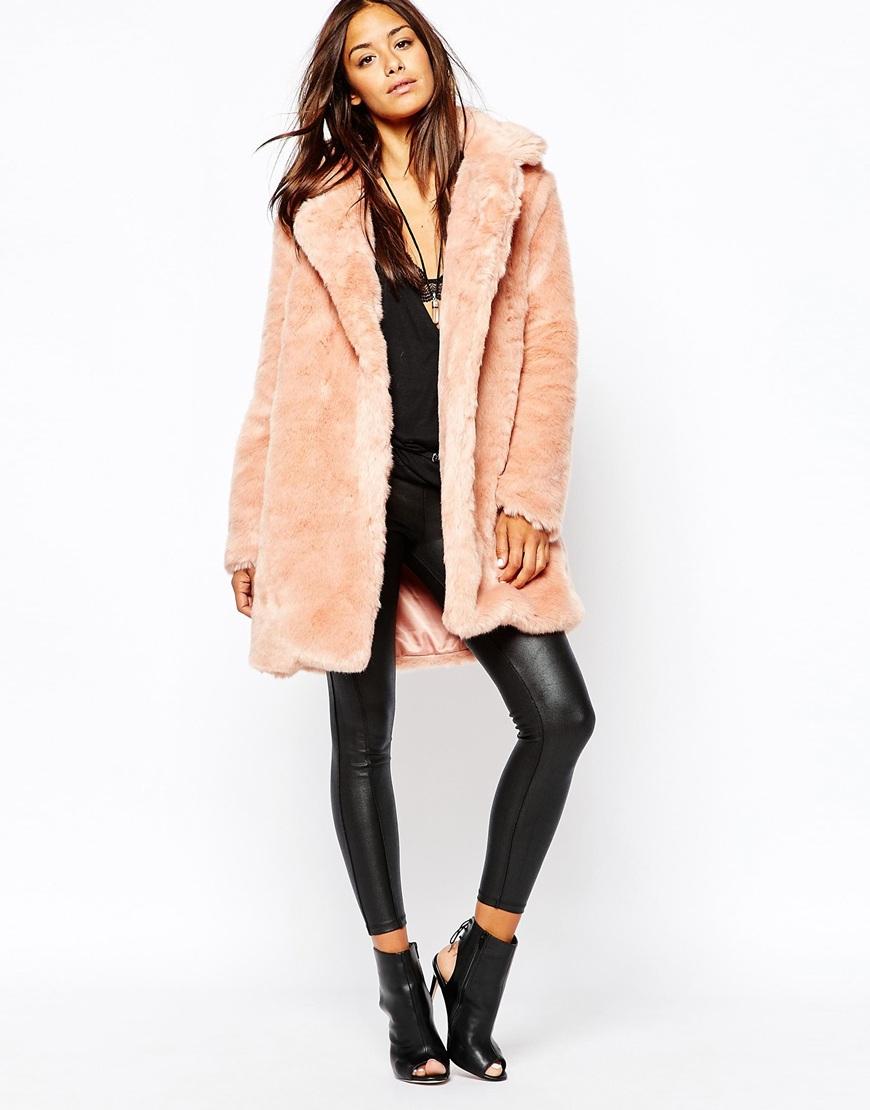 Missguided Faux Fur Longline Coat in Pink | Lyst