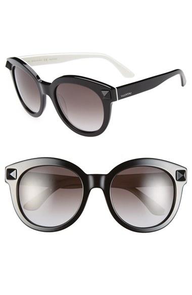 3e1dc51e58043 Valentino 'rockstud' 54mm Semi Oval Cat Eye Sunglasses in Black - Lyst