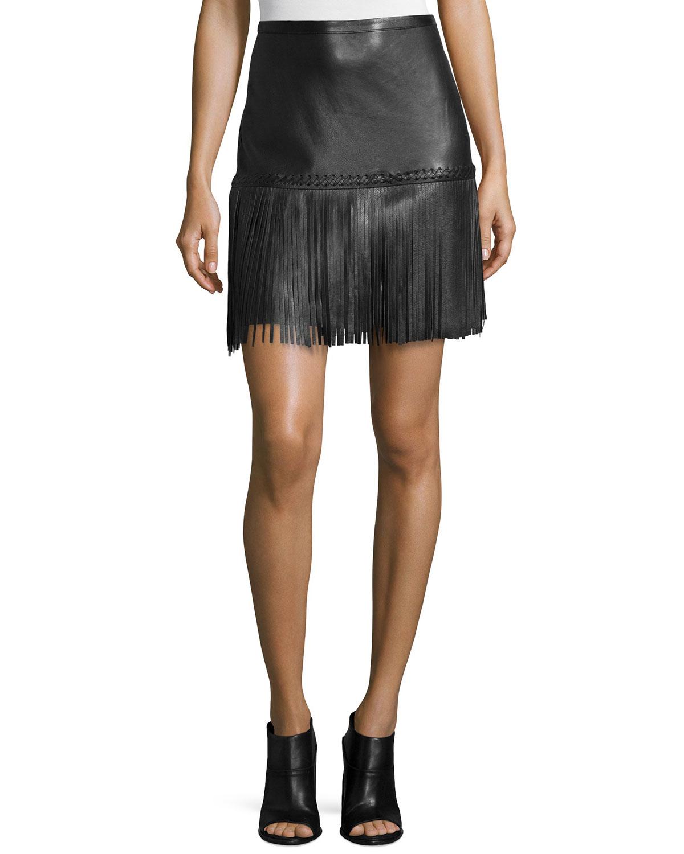 Lyst L Agence Leo Leather Fringe Skirt In Black