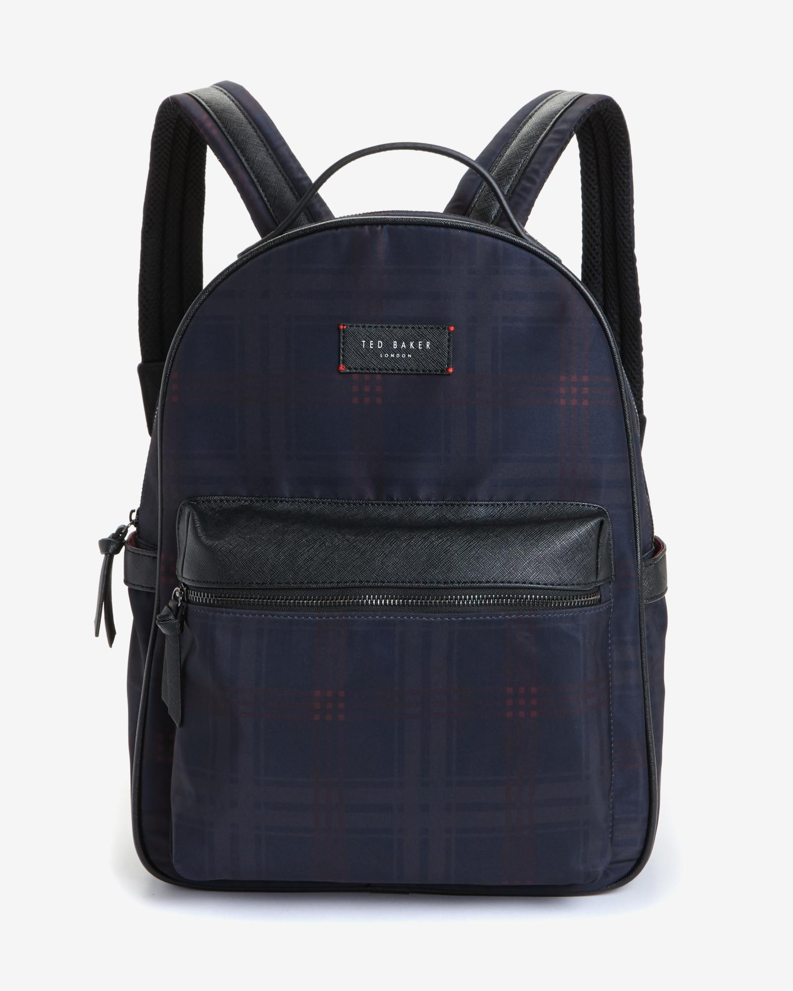 ted baker check print rucksack in blue for men lyst. Black Bedroom Furniture Sets. Home Design Ideas