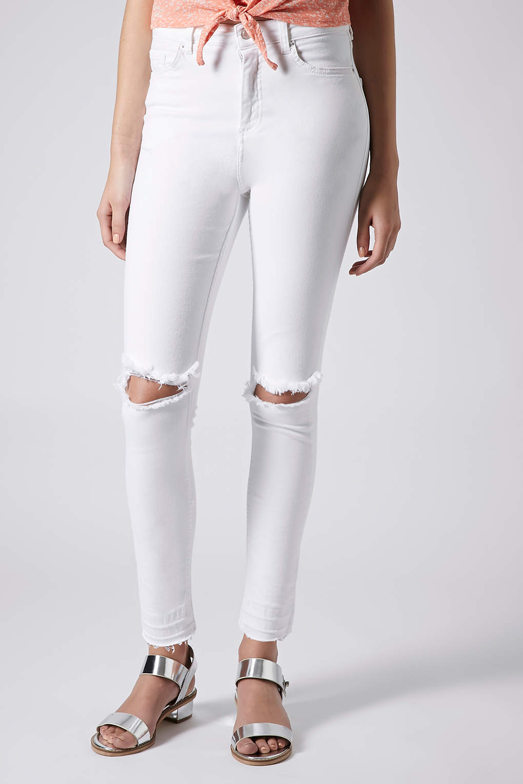 Topshop Moto White Ripped Jamie Jeans in White | Lyst