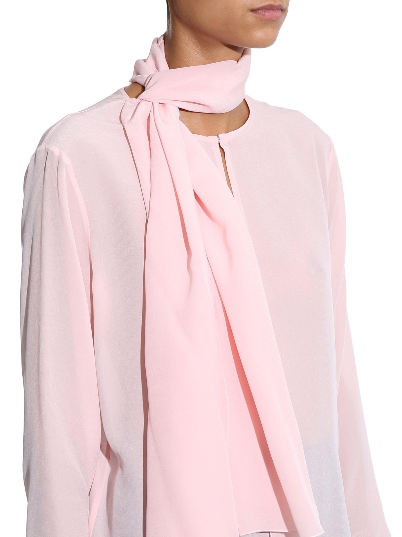 5d1b9af2bd9e1c Bottega Veneta Silk Crepe De Chine Blouse in Pink - Lyst