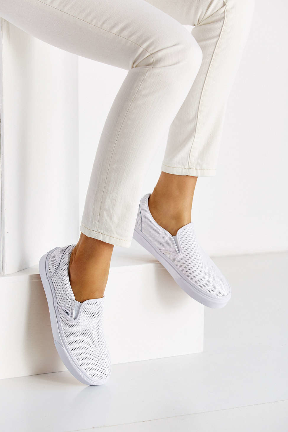 7dbe31a7048 Lyst - Vans Perforated Leather Slip-on Sneaker in White