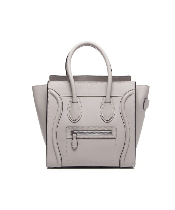 celine leather-trimmed canvas satchel