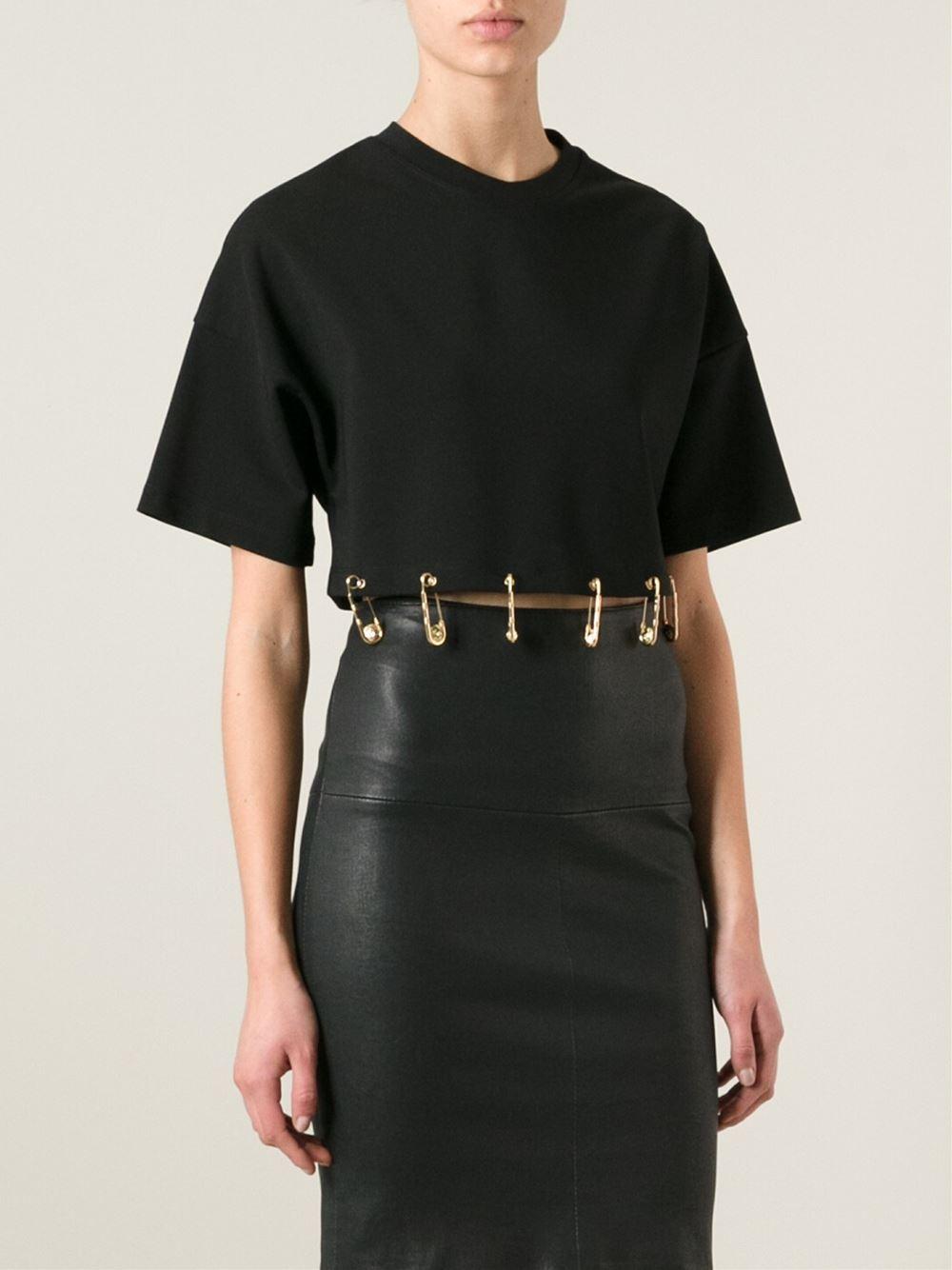 safety pin print T-shirt dress - Black Versus Vozy4mttM