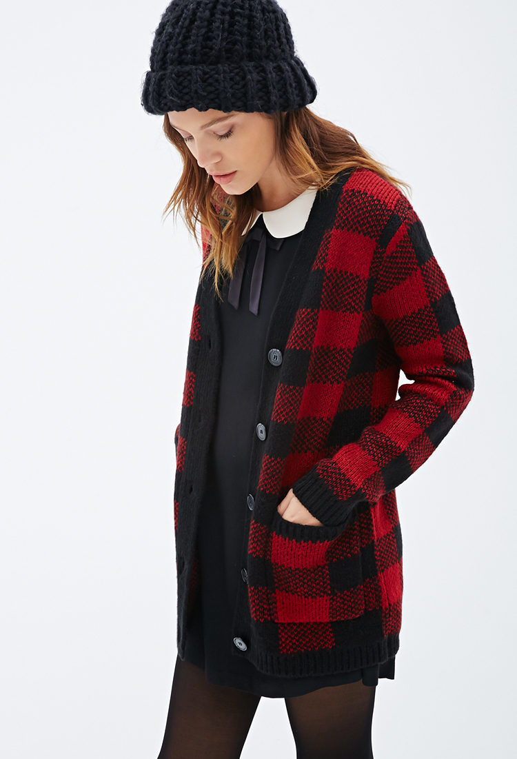 Gallery - Forever 21 Plaid V-neck Cardigan In Red Lyst