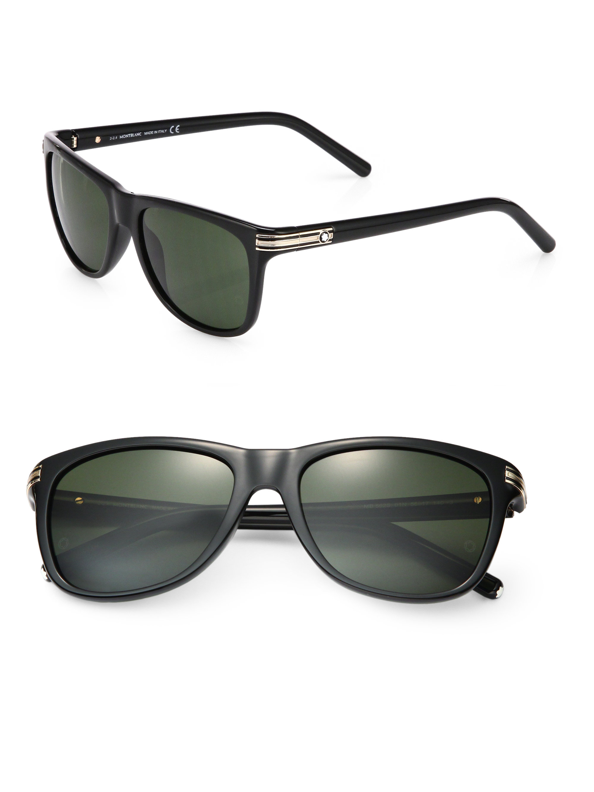 Montblanc 56mm Injected Square-shaped Sunglasses in Black ...