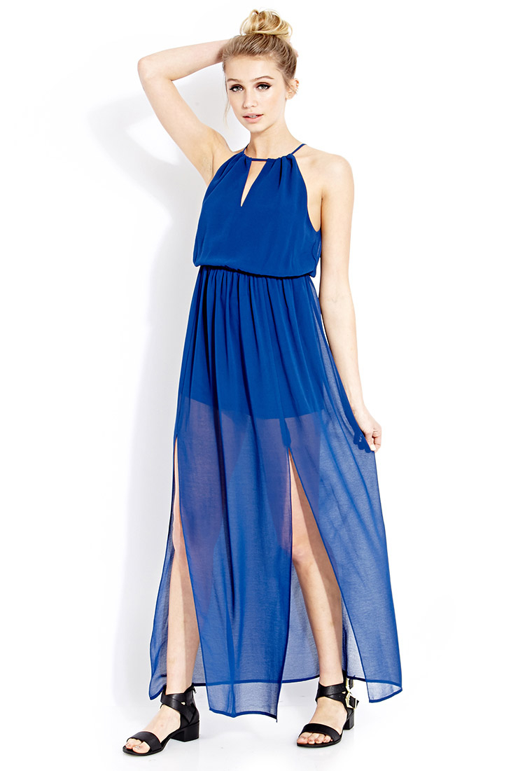 465fbb7168 Forever 21 Goddess Moment Maxi Dress in Blue - Lyst