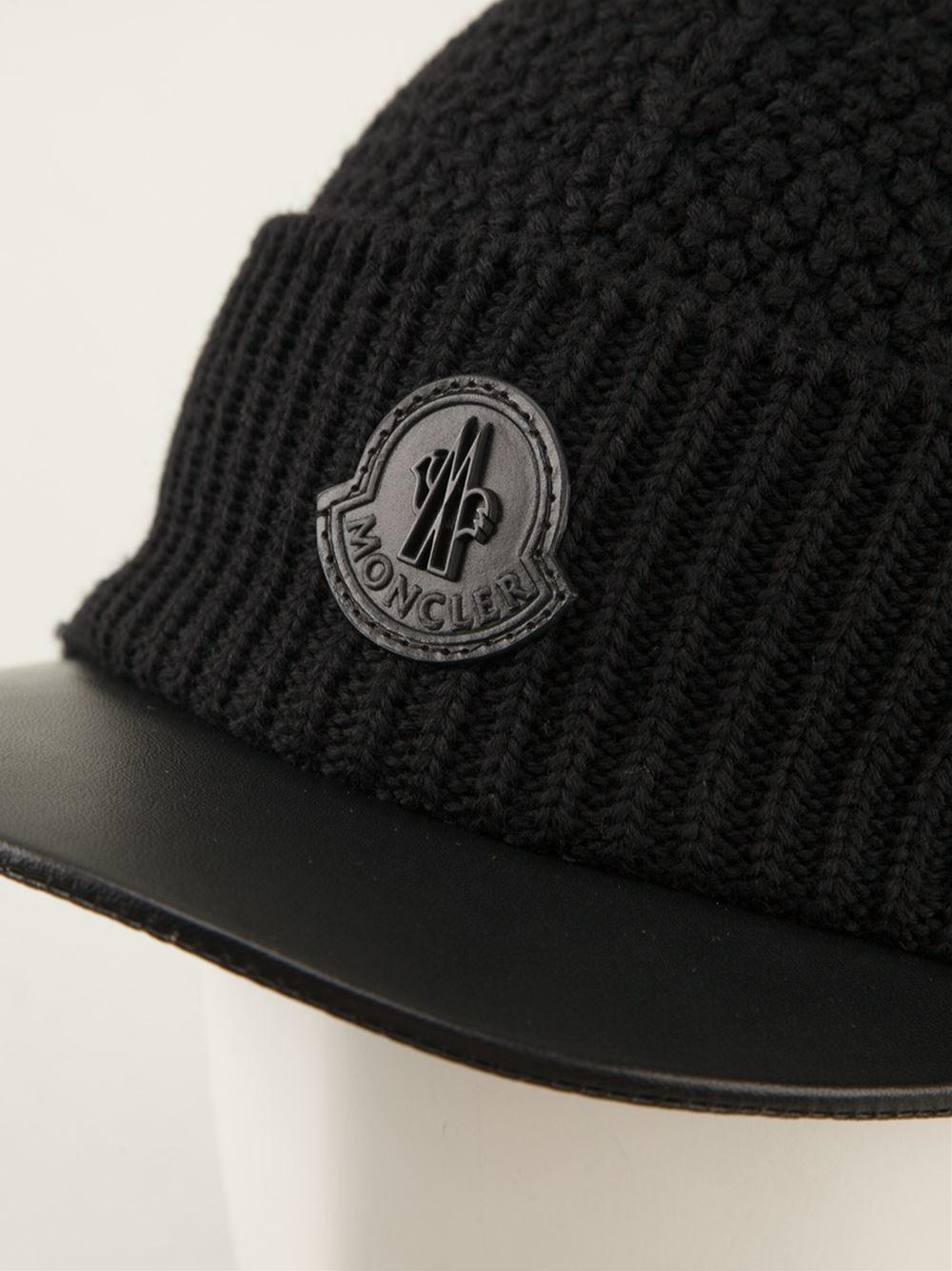 Lyst - Moncler Knitted Visor Hat in Black for Men 952872fadf1