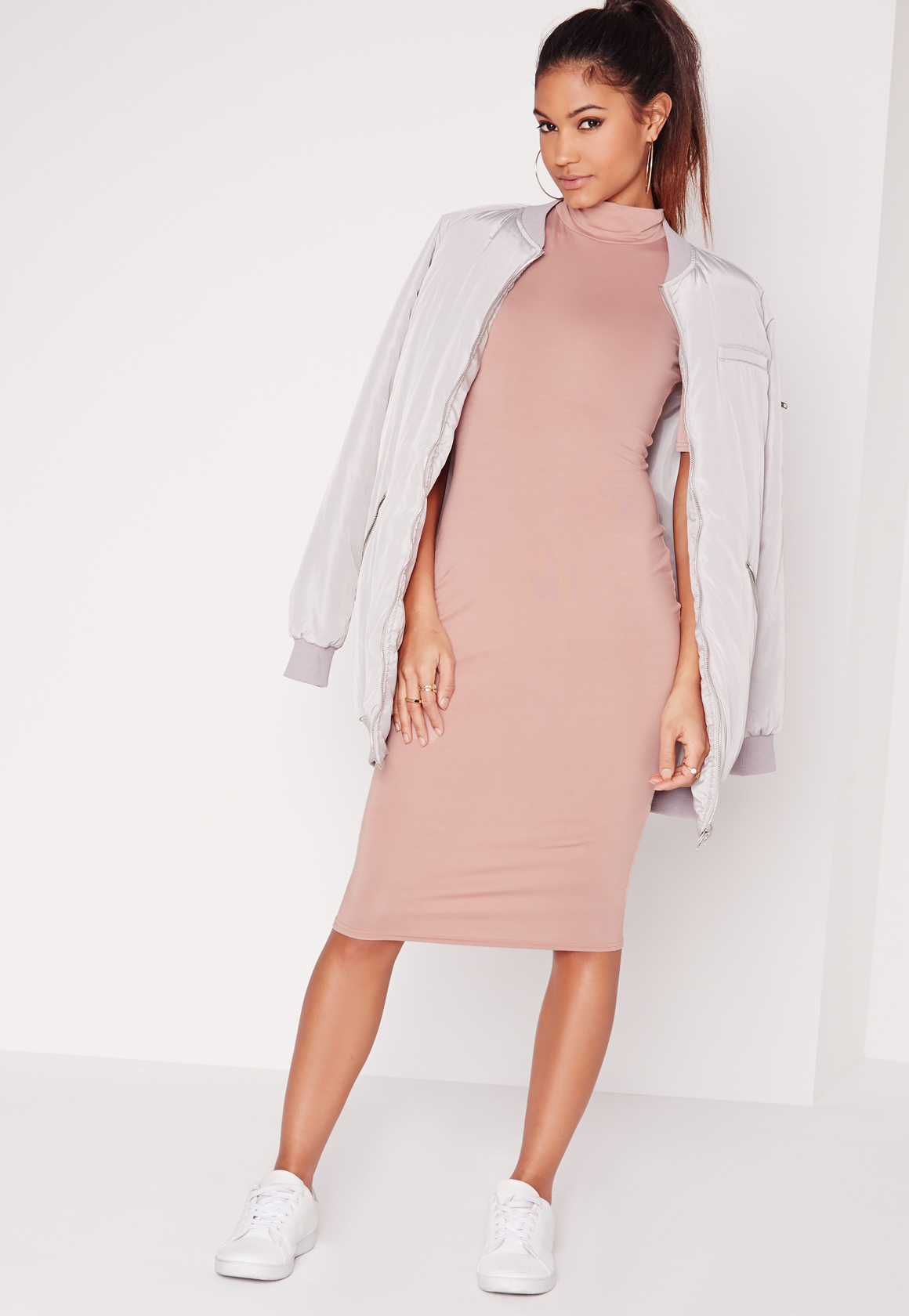 Missguided High Neck Short Sleeve Bodycon Dress Dusky Pink ...