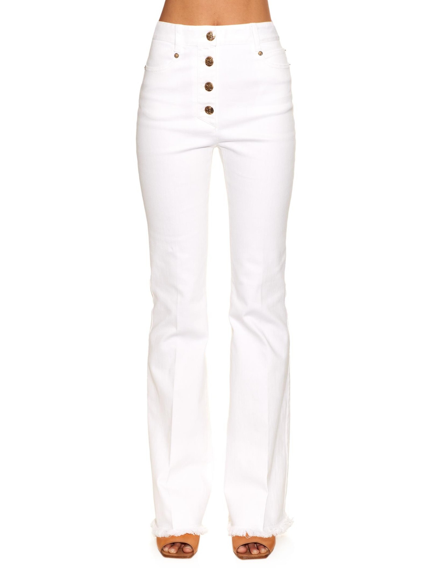 Sonia rykiel Fringed-hem High-rise Flared Jeans in White | Lyst