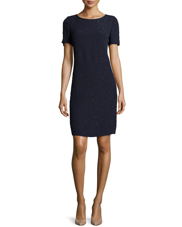 Akris punto Crinkled Crepe T-Shirt Dress in Black | Lyst