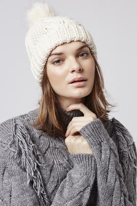 78170a6d693 Lyst - TOPSHOP Cable Knit Fur Pom Beanie in Natural