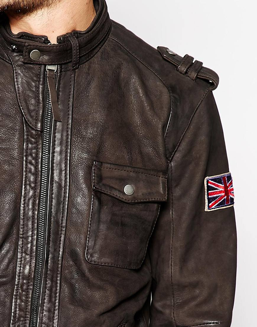 pepe jeans pepe leather jacket theo washed biker in black. Black Bedroom Furniture Sets. Home Design Ideas
