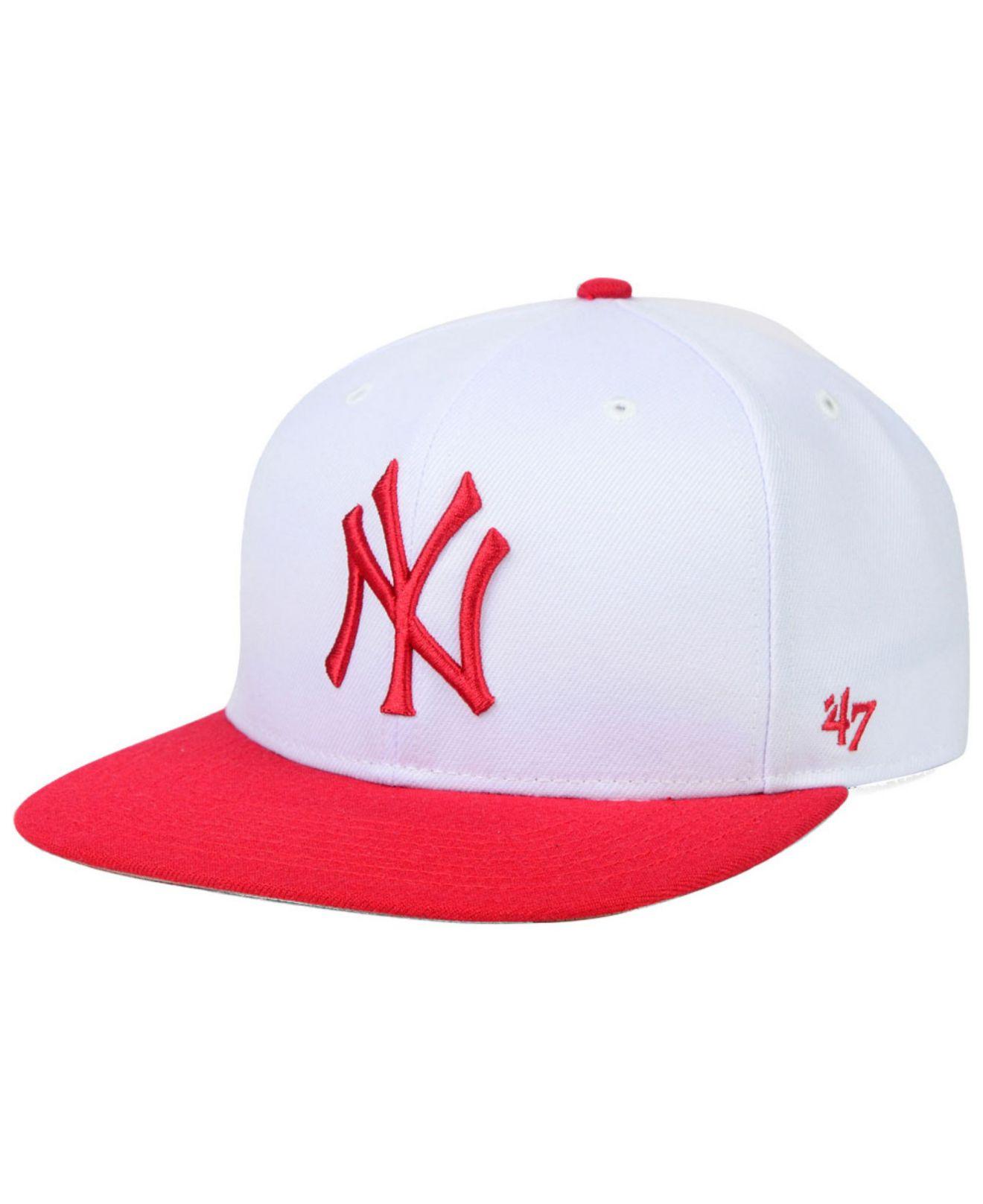 Lyst - 47 Brand New York Yankees Sure Shot Snapback Cap in White for Men 63b8845e6d6