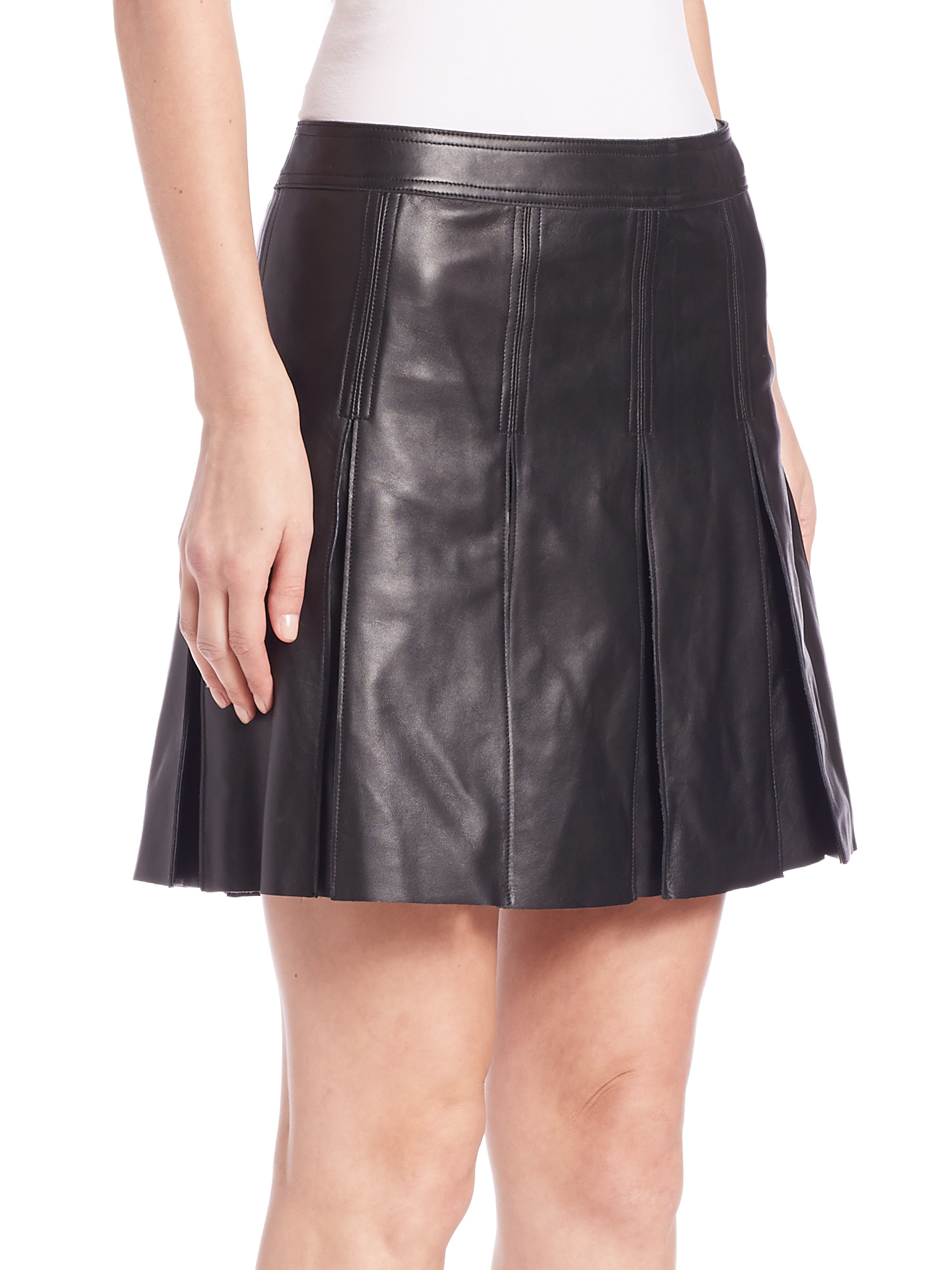 835ba63847 Polo Ralph Lauren Leather Pleated Skirt in Black - Lyst
