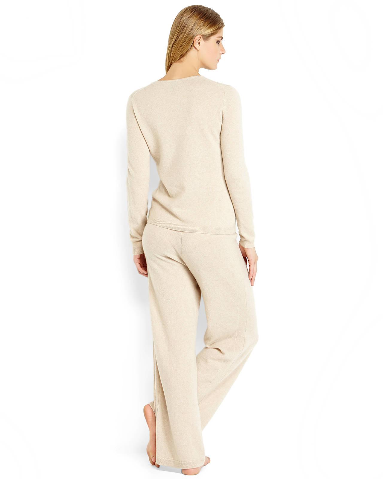bbe287148d Sofia Cashmere Two-Piece Beige Knit Cashmere Top & Pant Set in ...