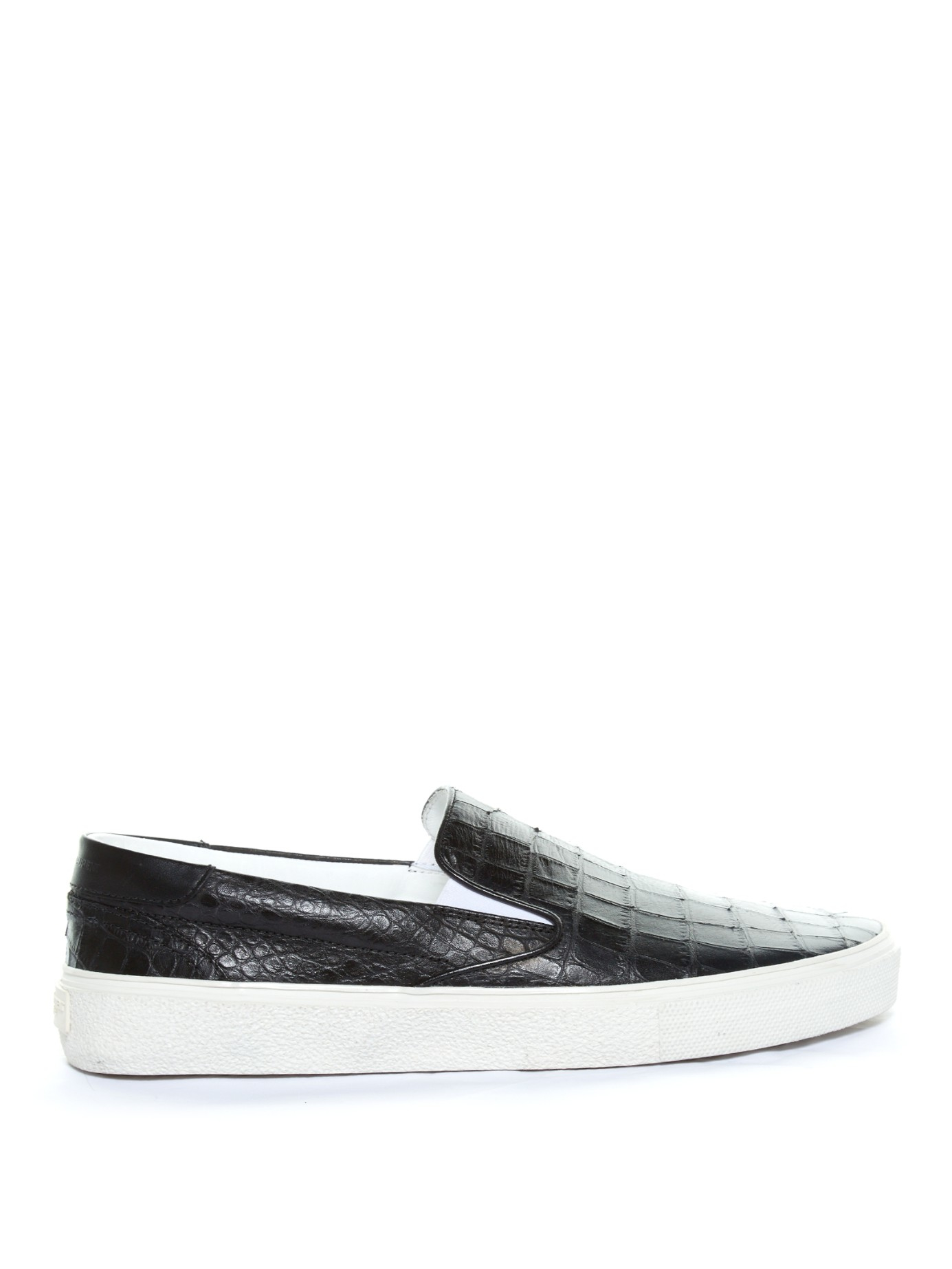 31c734d28ff3 Saint Laurent Crocodile-effect Leather Slip-in Trainers in Black for ...