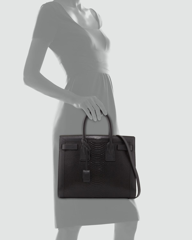 99629f29f3c Saint Laurent Sac De Jour Small Python-stamped Tote Bag in Black - Lyst