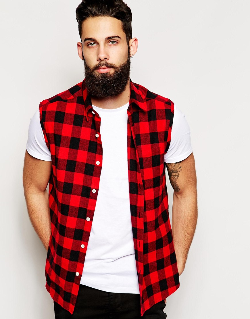 Gallery - Asos Sleeveless Shirt With Red Buffalo Plaid In Red For Men Lyst