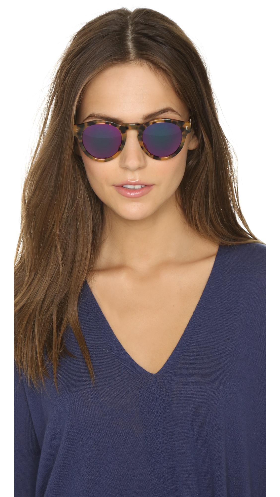 Illesteva Leonard Mirrored Sunglasses In Pink Tortoise
