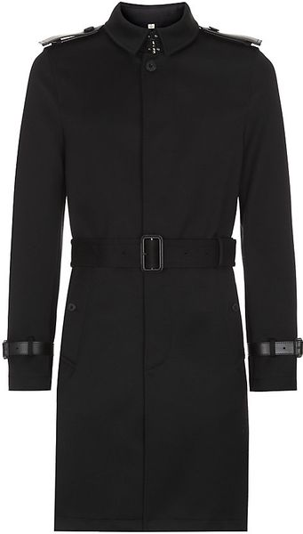 Burberry Silk Wool Trench Coat In Black For Men Lyst