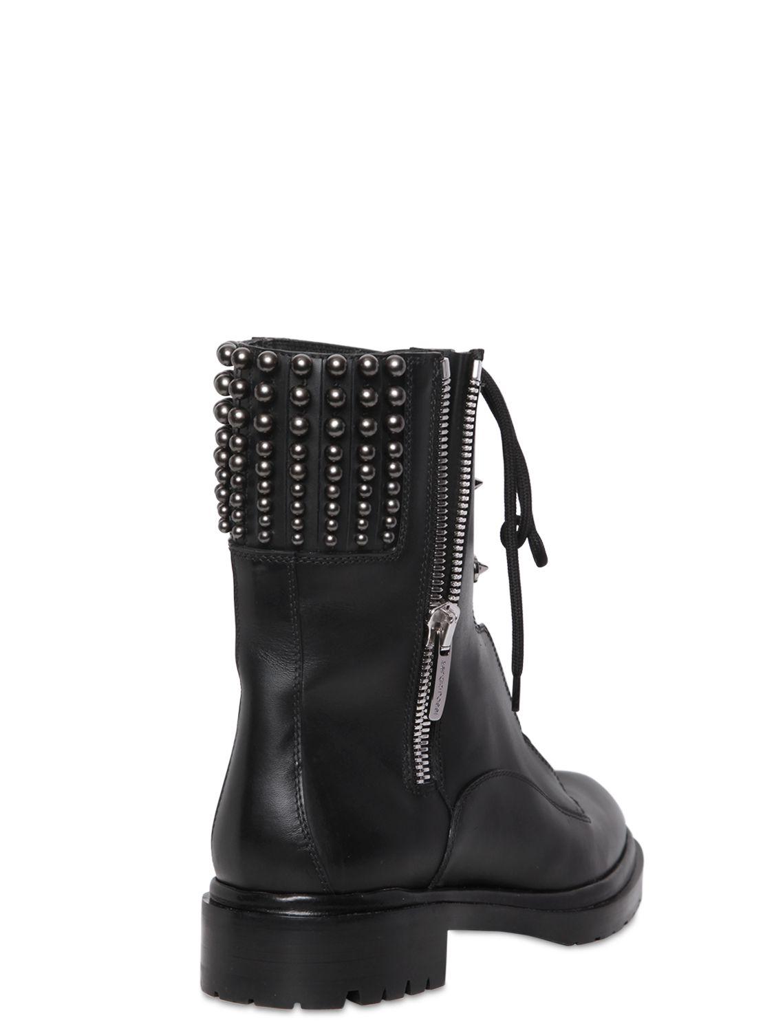 Sergio rossi 30Mm Rockstar Leather Combat Boots in Black ...
