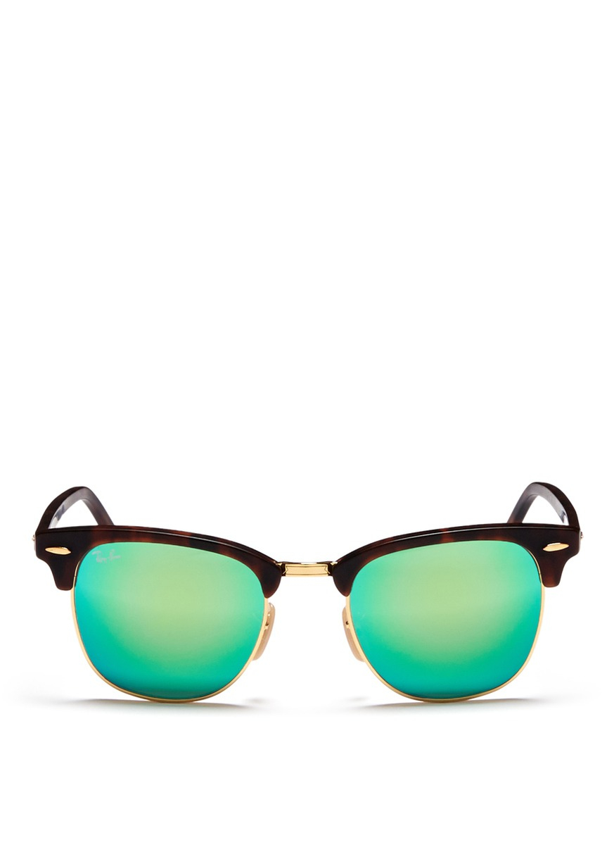 ray ban clubmaster matte  Ray-ban \u0027clubmaster\u0027 Matte Acetate Browline Mirror Sunglasses in ...