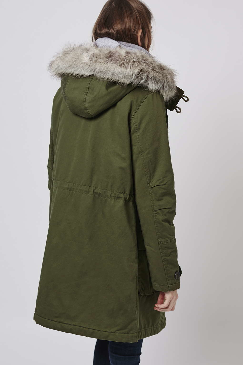 Topshop Tall Long Padded Parka Jacket in Green | Lyst
