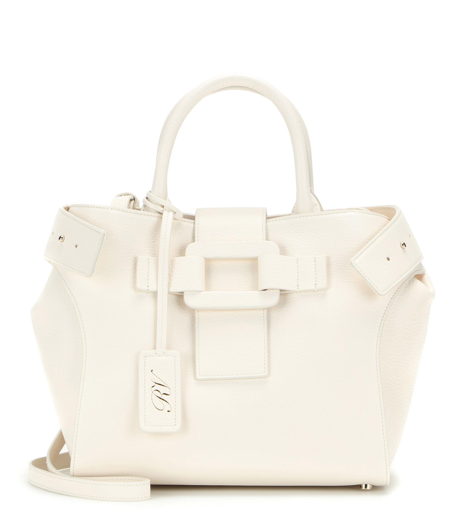 3e796d39ea Lyst - Roger Vivier Pilgrim De Jour Small Leather Shoulder Bag in White