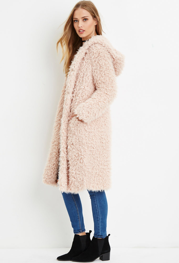 Forever 21 Hooded Faux Fur Coat in Pink | Lyst