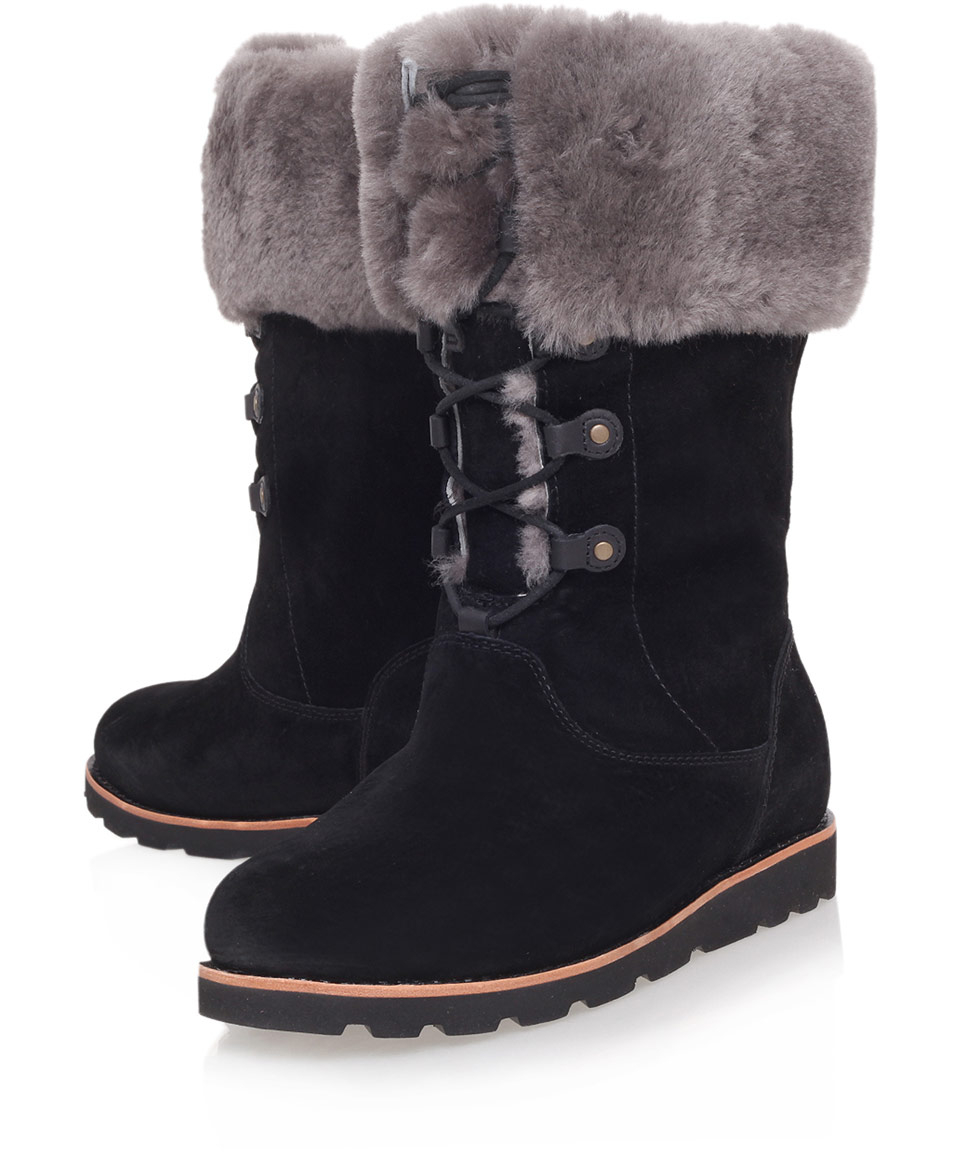ugg black barbarin suede calf boots in black lyst