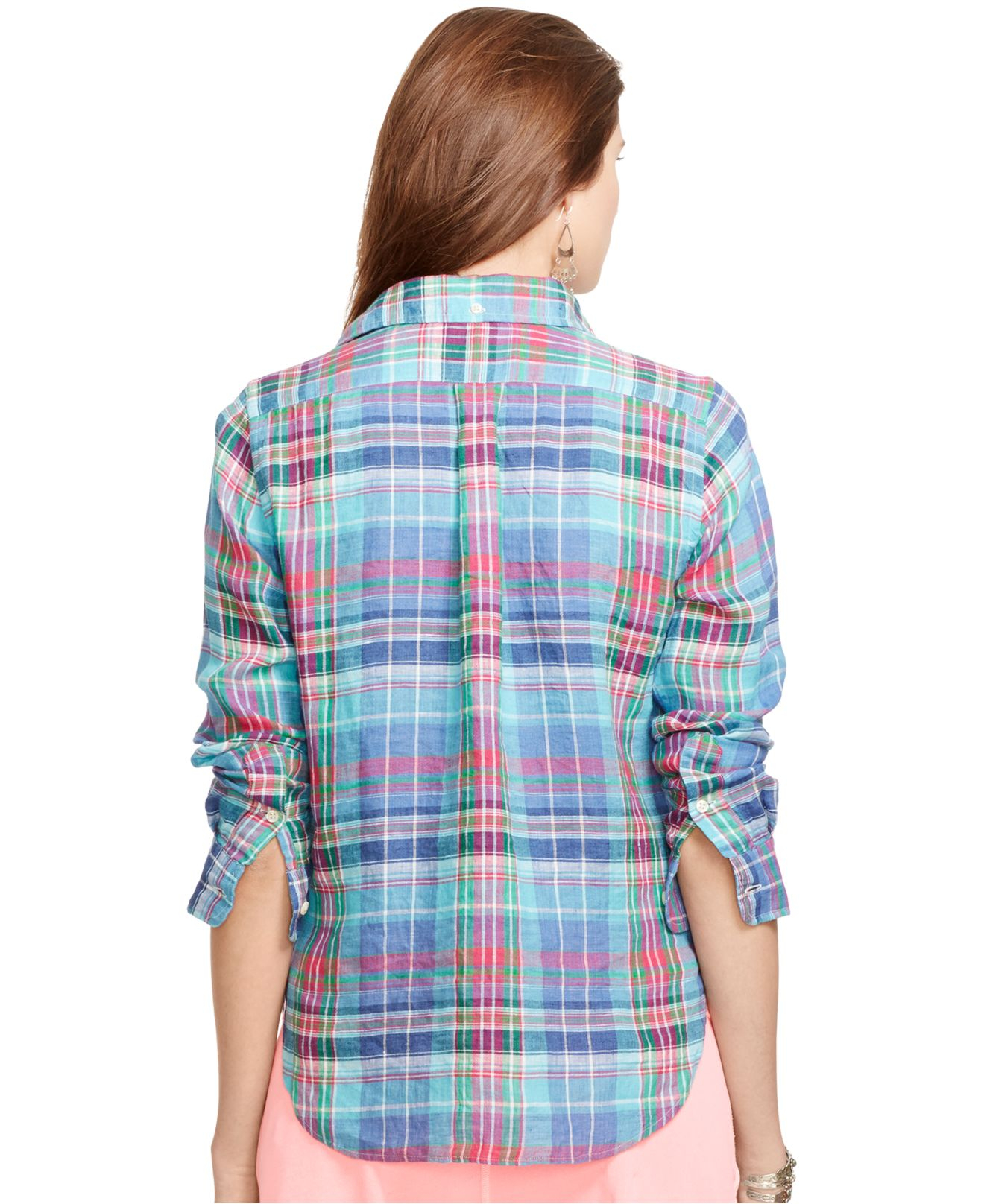 8711ce3e2e8 ... release date lyst polo ralph lauren plaid linen shirt in blue e0570  9ada6