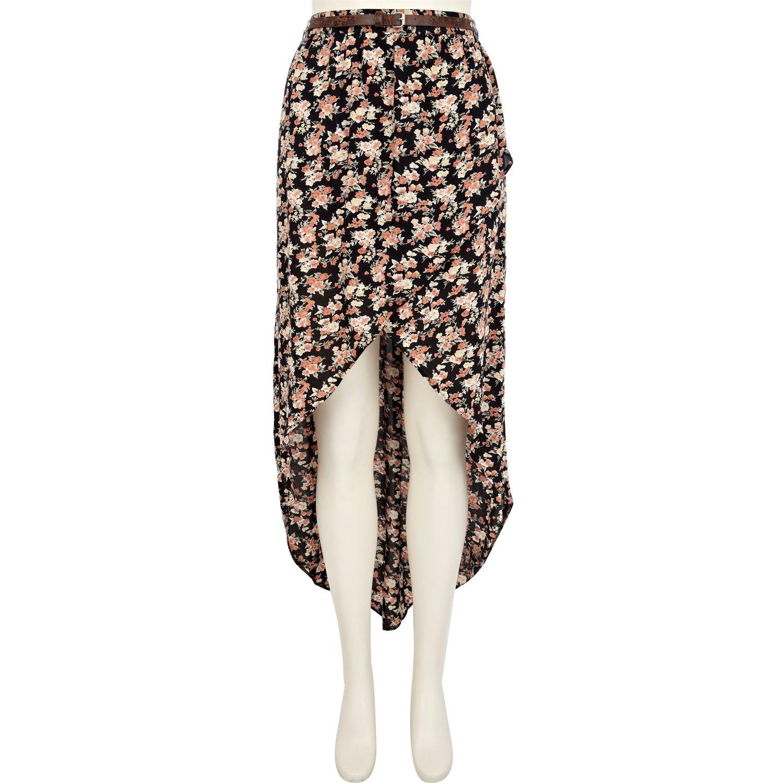 ade69e35b River Island Brown Floral Print Dip Hem Wrap Maxi Skirt in Brown - Lyst