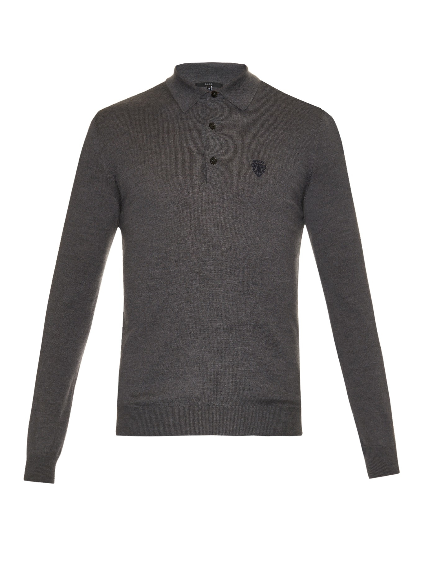 Gucci long sleeved wool polo shirt in gray for men lyst for Long sleeve wool polo shirts