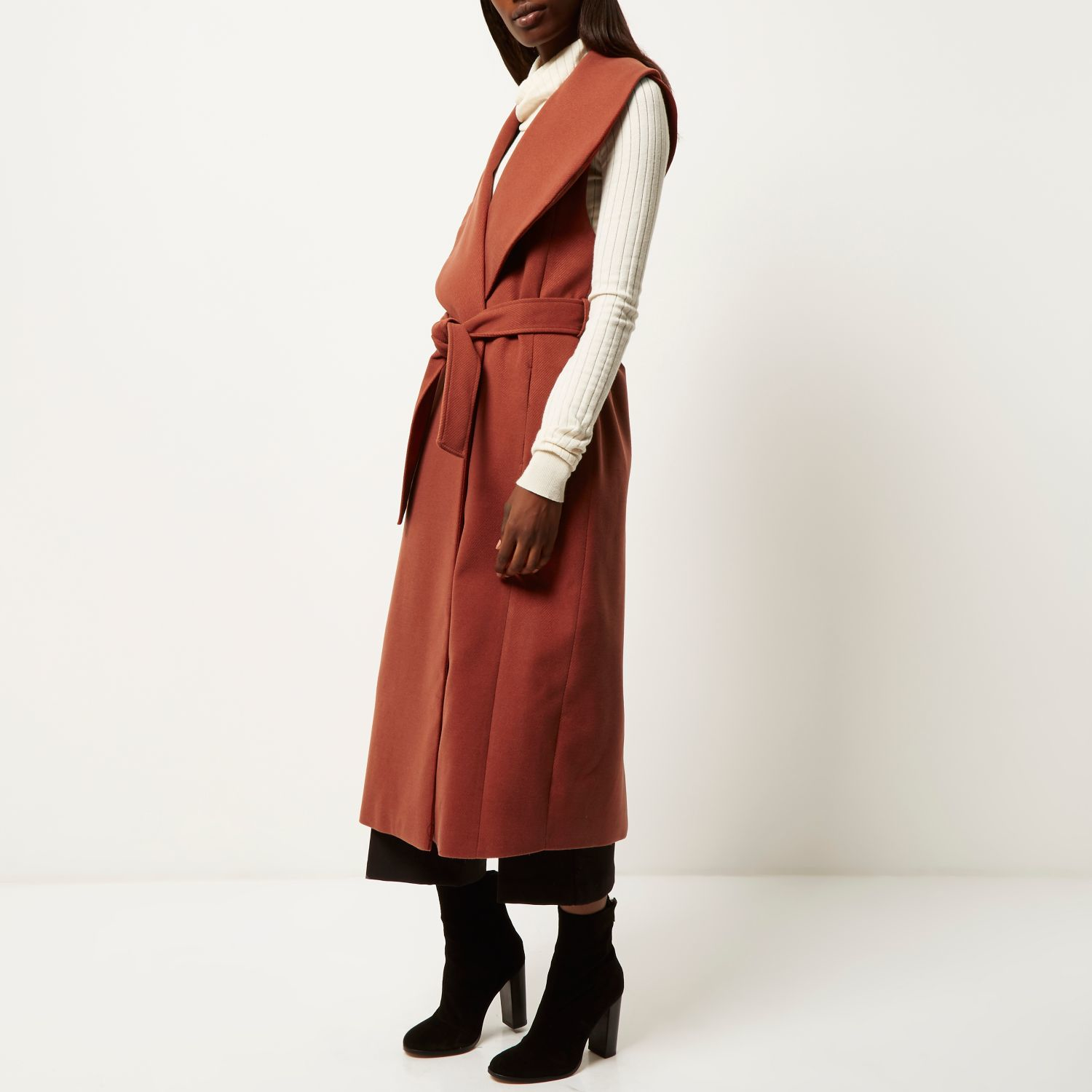 5606c7a56a735 River Island Rust Sleeveless Longline Robe Coat in Brown - Lyst