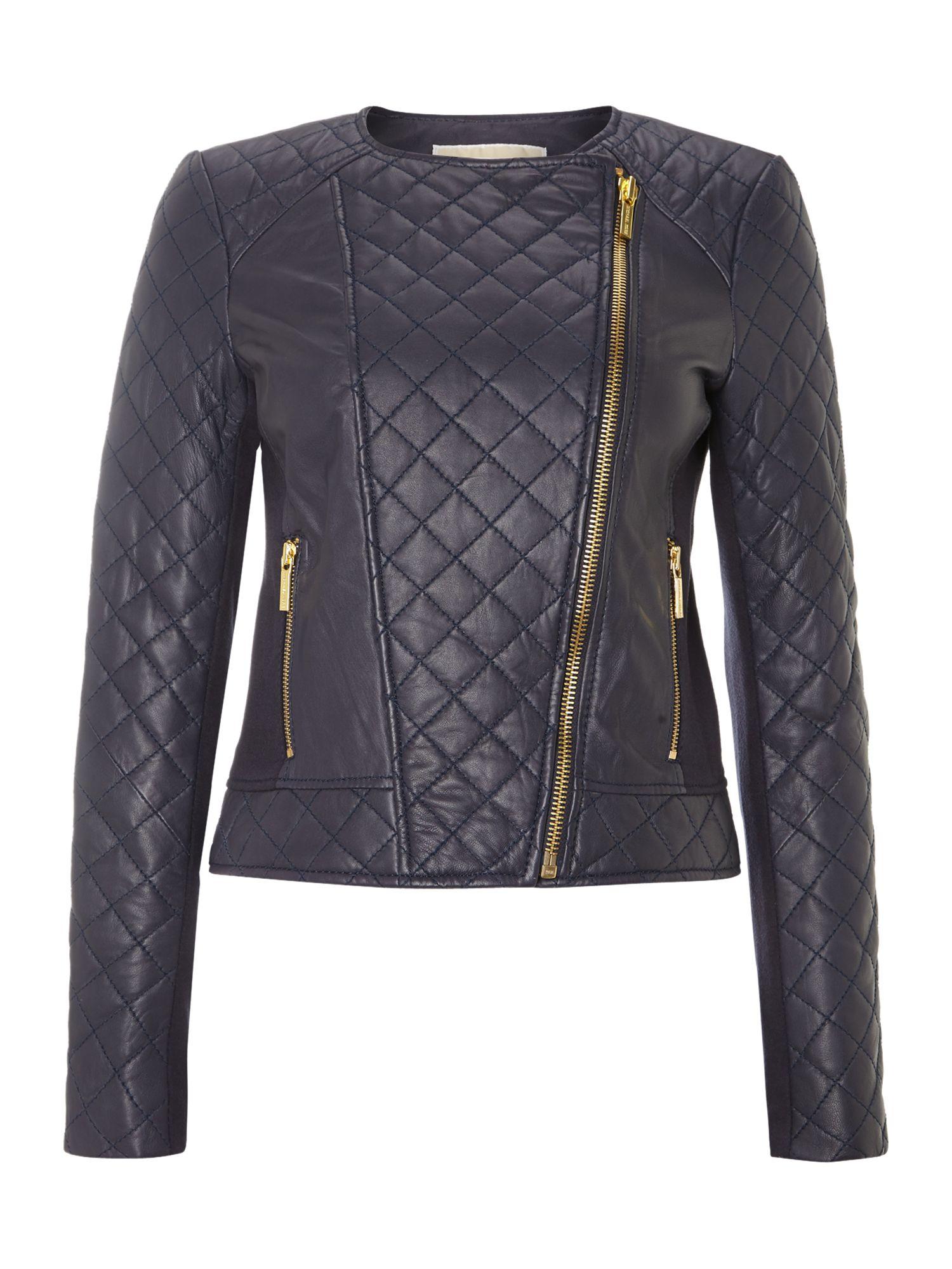 Michael kors blue leather jacket