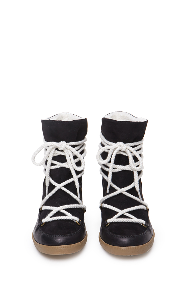 forever 21 chukka wedge bootie in black lyst