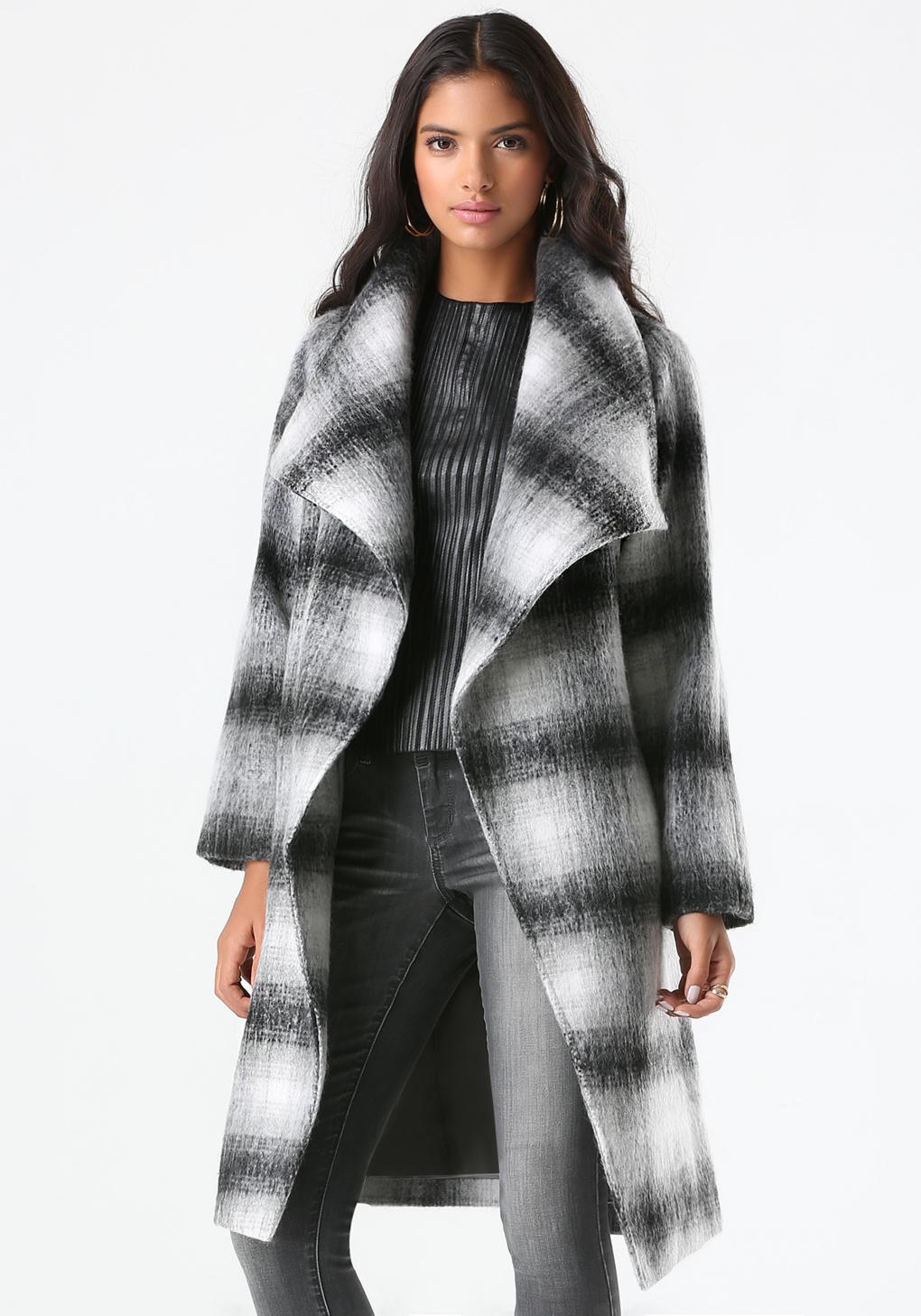 lyst bebe plaid belted wrap coat in black. Black Bedroom Furniture Sets. Home Design Ideas