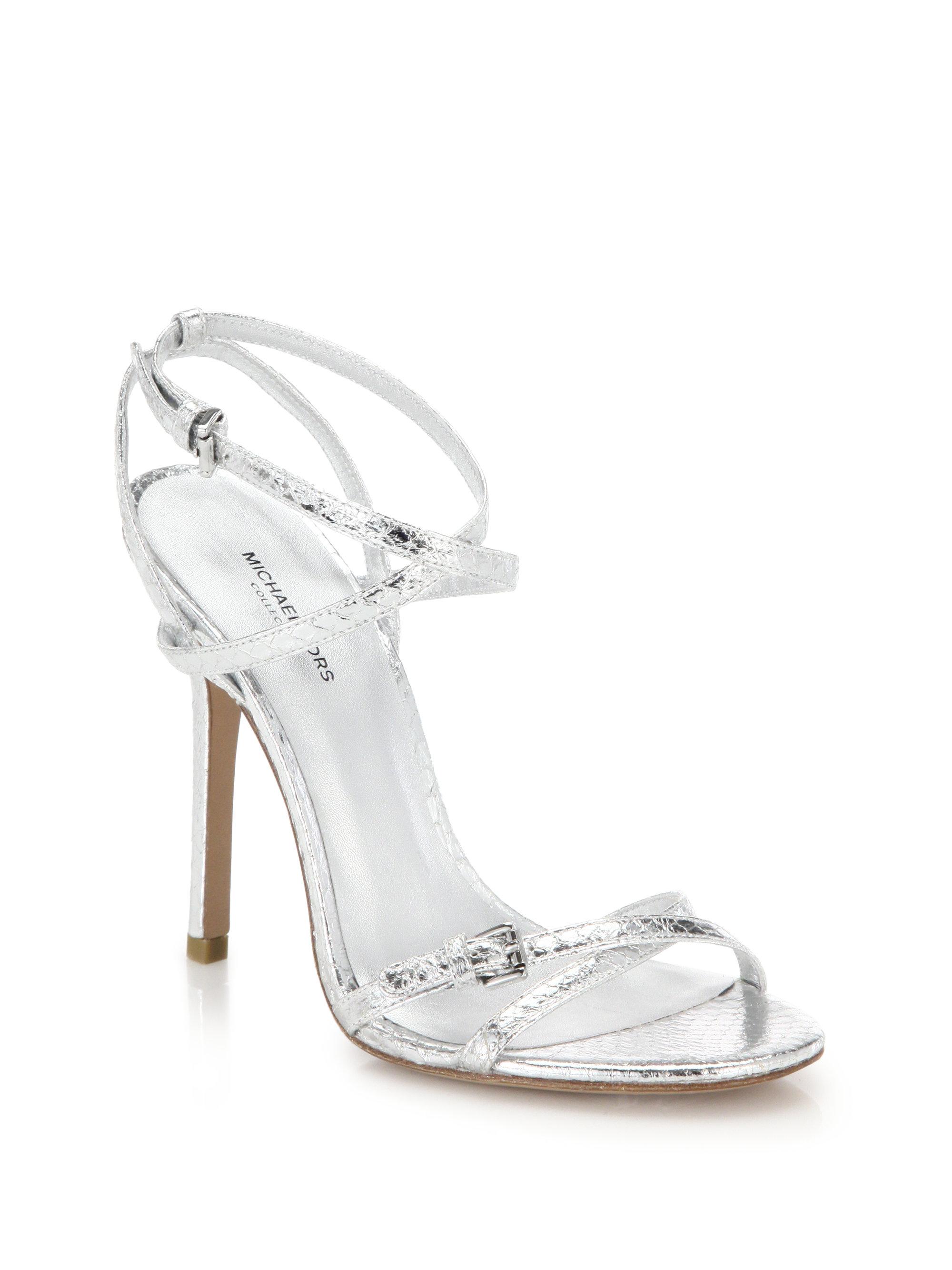 9ee7d161c8cdb Lyst - Michael Kors Jennie Metallic Leather Sandals in Metallic