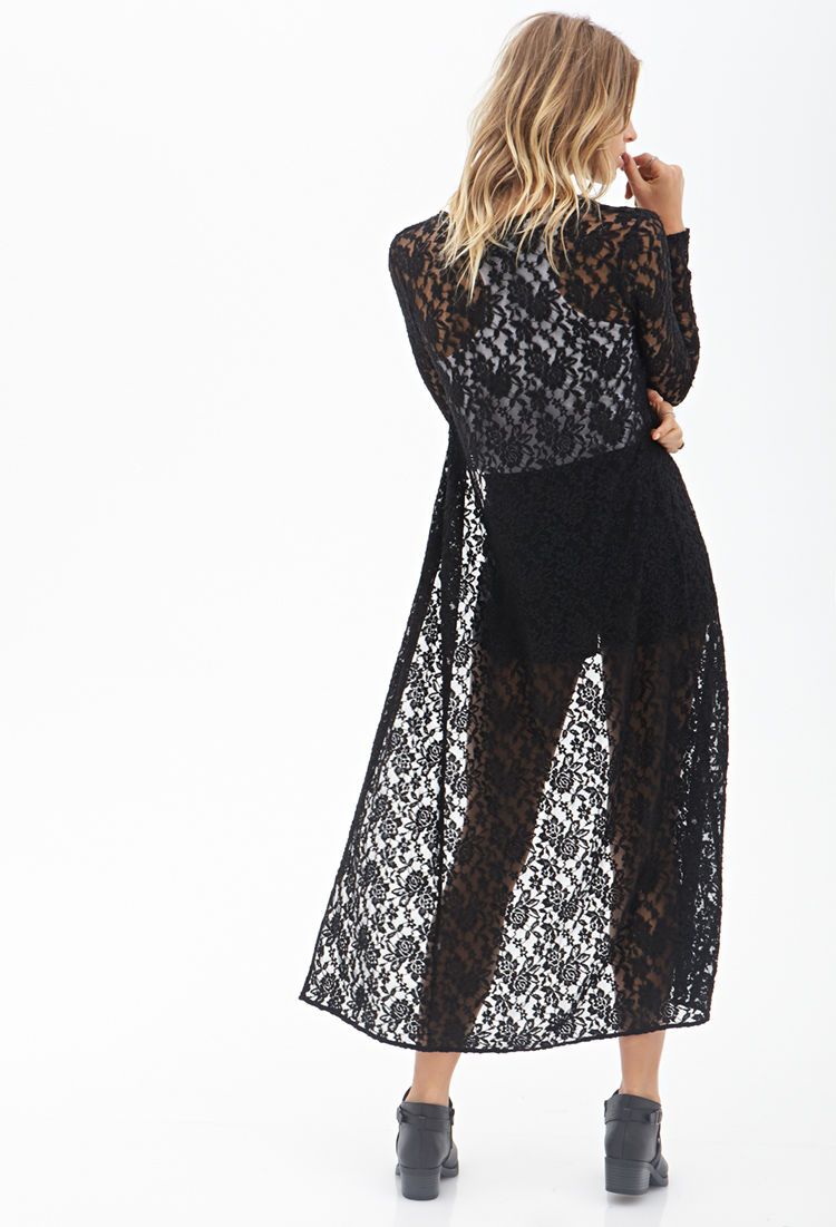 Forever 21 Floral Lace Maxi Cardigan in Black | Lyst