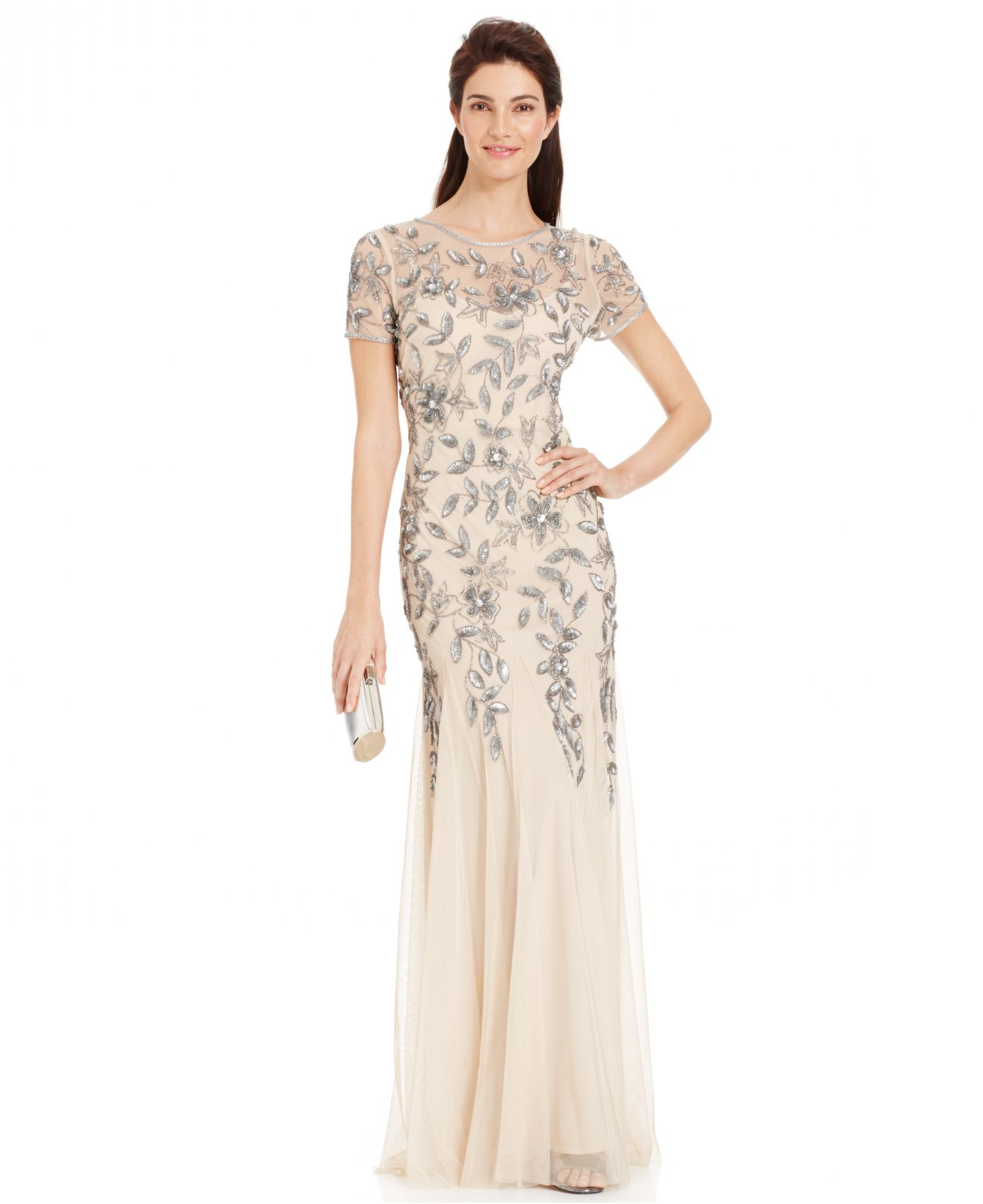 Adrianna papell embellished floral print gown in gray for Macy black dress wear to wedding