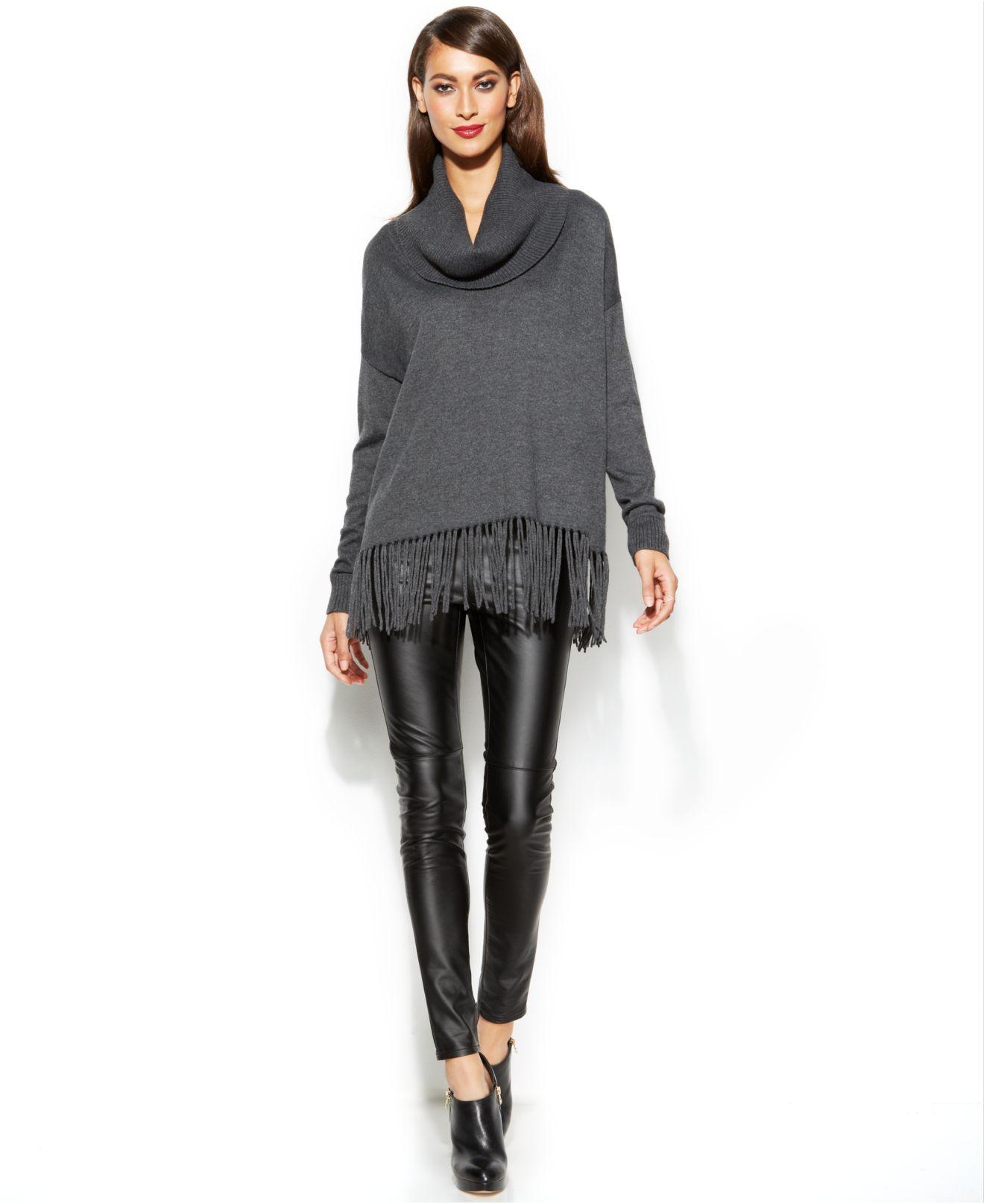 5cb50130b610 Lyst - Michael Kors Michael Cowl-Neck Fringe Sweater in Gray