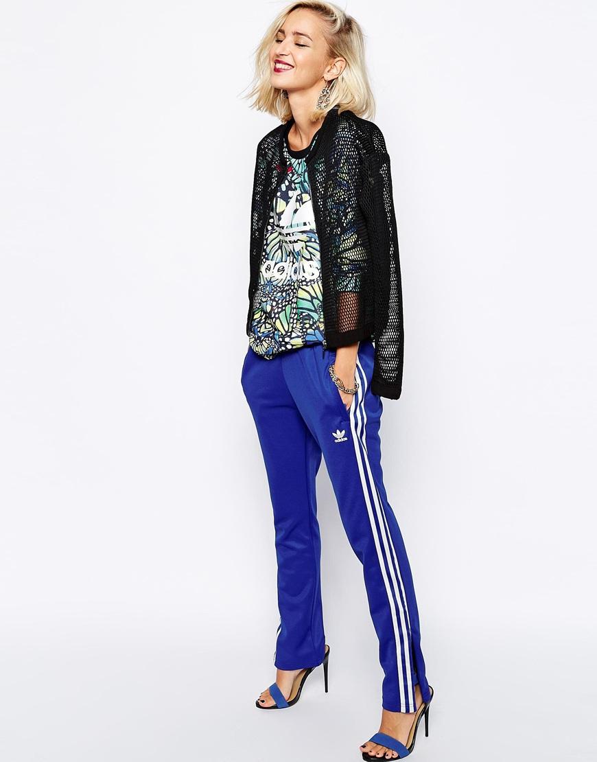 Lyst - Adidas Originals 3 Stripe Sweat Pants in Blue