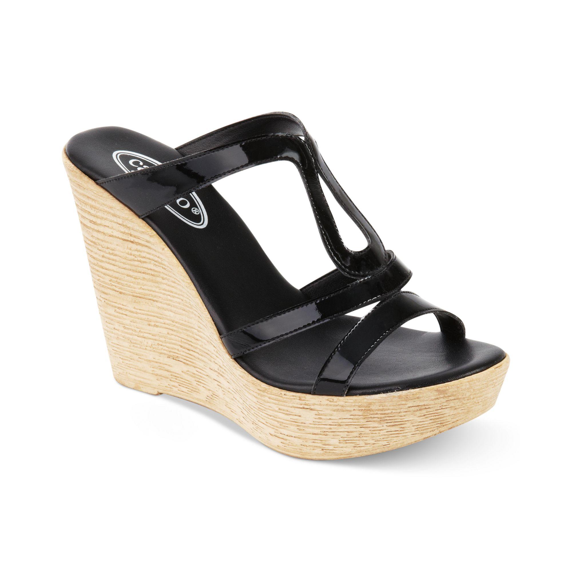Callisto Classy Platform Wedge Sandals In Beige Black Lyst