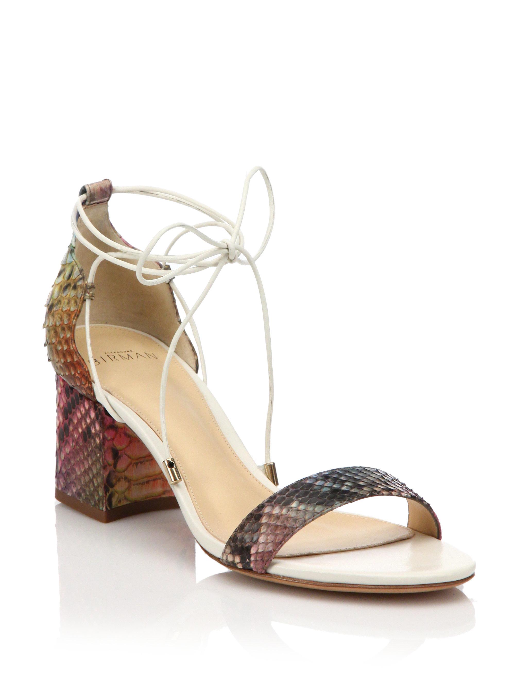 5410339e507 Lyst - Alexandre Birman Rainbow Python Lace-up Mid-heel Sandals