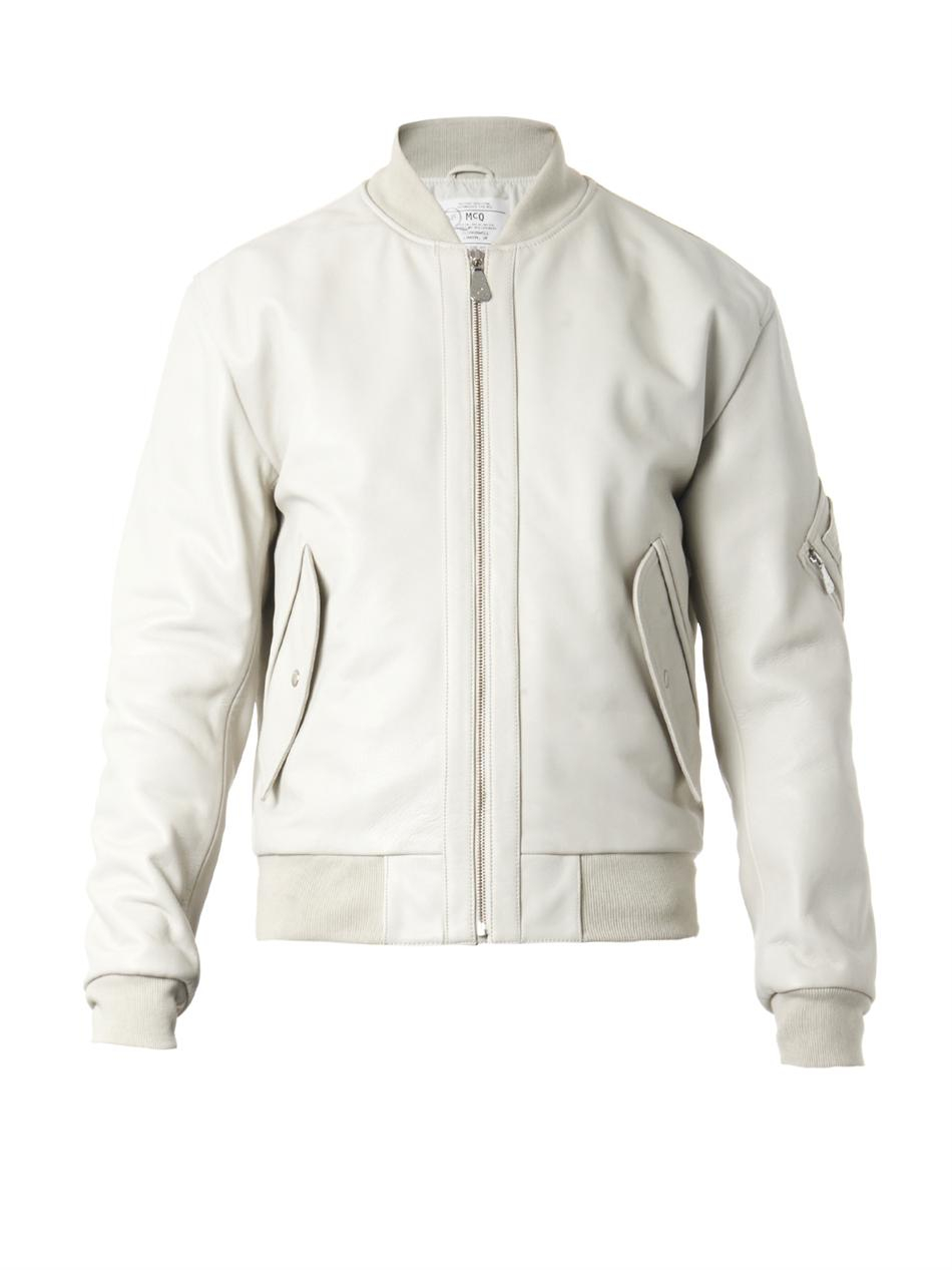 Mcq Leather Bomber Jacket in White for Men | Lyst