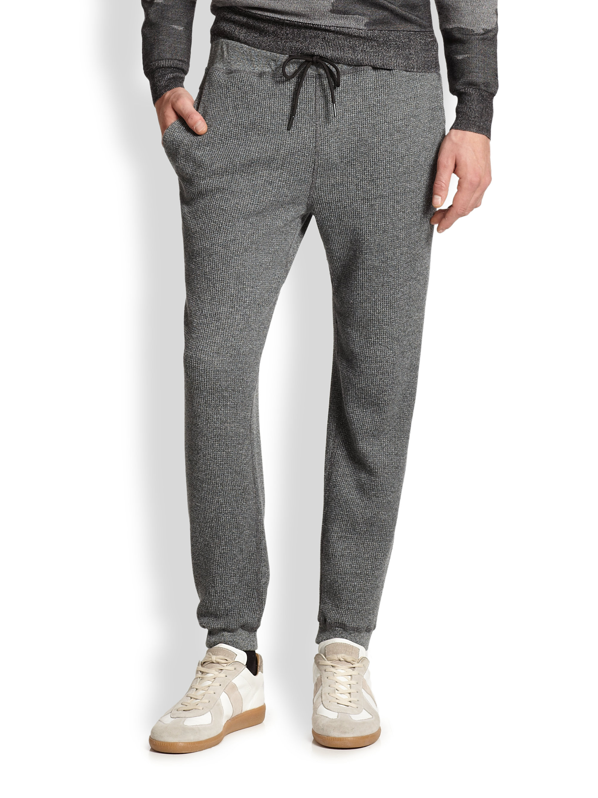 efcc689d9415 Lyst - Theory Dozer Waffle Sweatpants in Gray for Men